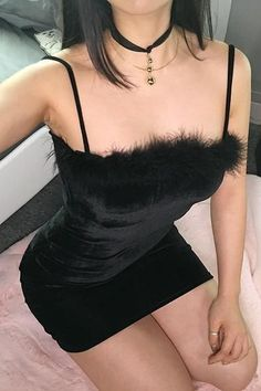 Black Furry Bodycon Slip Dress - Black / M Sexy Outfits, Mode Outfits, Fashion Outfits, Ladies Fashion, Dress Fashion, Elegant Dresses, Sexy Dresses, Cute Dresses, Mini Dresses