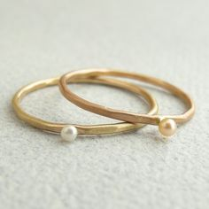 tiny pearl stacking rings
