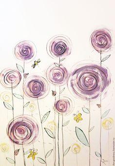 Handmade acryl painting / Поле утром - сиреневый, лиловый, желтый, золотой, одуванчик, цветы, весна, поле, детская