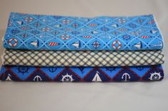 Set of three #burp cloths, one light blue nautical, one navy/cream plaid, one navy #nautical    twomoellers on Etsy    $15