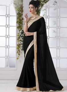 Black Mirror Work Border Chiffon Georgette Designer Party Wear Sarees http://www.angelnx.com/featuredproduct