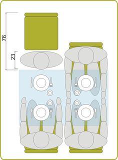 mesa de comedor espacio alrededor mínimo