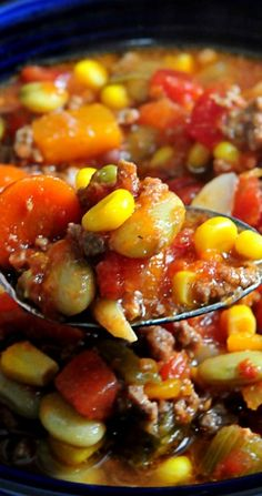 Fall Crock Pot Hardy Vegetable Soup. -the okra for me