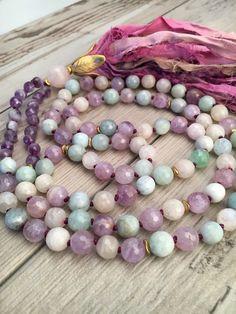 Aquamarine Amethyst and Moonstone Mala Necklace/Sari Silk