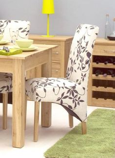 Mobel Oak 'flock' fabric Upholstered Dining Chair (Pack Of Two)