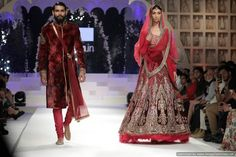 Indian bridal lehenga and sherwani for a desi wedding. #shaadibazaar