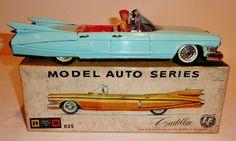 """BANDAI Japanese Tin Litho Friction 1959 CADILLAC 4-Dr CONVERTIBLE w/ BOX ~ 11.5"""" #Bandai #Cadillac"""