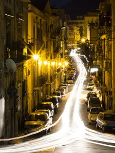 Trails in a hurry   Palermo Sicilia Sicily long exposure