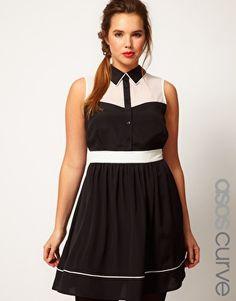 ASOS CURVE Shirt Dress in Colourblock