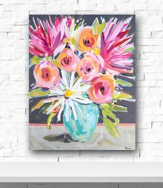 Abstract flowers painting pink peonies daisies by Marendevineart