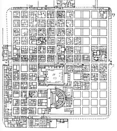 PLAN OF TIMGAD, Roman Ruins in Algeria, embodiment of urban planning - shows more regular planning than pompeii, in which the grid system was more angled. You can see the two main roads, the cardo and decumanus crossing in the middle.