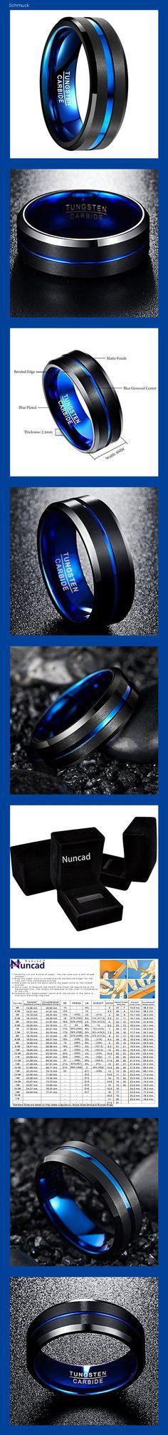 NUNCAD Herren Damen Partner Ring aus Wolfram Schwarz-Blau 8mm mit Blauer Rille für Hochzeit Verlobung Party Alltag Größe 47 (7) - 14h5