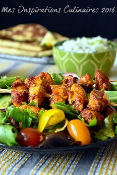 Poulet tikka Kebab en salade
