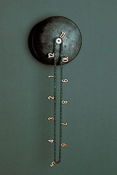 catena_bike_chain_clock. Easy to make from a clock mechanism, cog and chain. It's cool, creative and repurposed!!