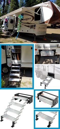 Pull-out steps make it easy to get into or out of your trailer or RV. Scissor design lets you manually collapse steps and fold them up for travel.