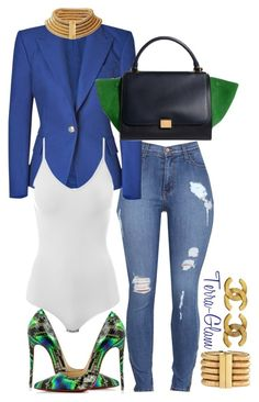 """Peacock Prowling"" by terra-glam ❤ liked on Polyvore featuring Balmain, Intimissimi, Christian Louboutin and Chanel"