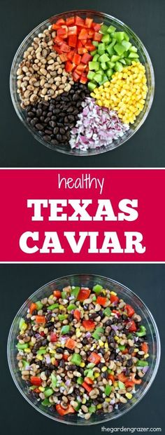 Healthy Texas Caviar – The Garden Grazer Healthy Texas Caviar Easy, healthy Texas Caviar (aka cowboy caviar)! GREAT make-ahead dip for picnics/parties! Texas Caviar Recipe, Caviar Recipes, Texas Caviar Dip, Cowboy Caviar Dip, Gluten Free Recipes, Vegetarian Recipes, Healthy Recipes, Clean Eating, Healthy Eating
