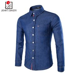Colorzied Striped Taps Spliced One Patch Pocket Shirt Collar Long Sleeves Slim Fit Denim Shirt For Men High Fashion Men, Mens Fashion Blazer, African Men Fashion, Men's Fashion, Fashion Brand, Fitted Denim Shirt, Denim Shirt Men, Outfits For Teenage Guys, Style Costume Homme