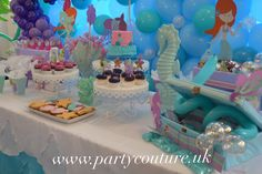 Under the Sea themed sweet table with an incredible balloon wall!!