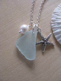 Sea Glass Jewelry Starfish Necklace in Pale Aqua by BostonSeaglass, $25.00