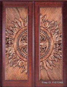 Double Solid Wood Door with Copper Coating ( Gorgeous Copper Insert with a Stunning Embossed Design in Wooden Double Doors. Cool Doors, The Doors, Unique Doors, Entrance Doors, Doorway, Windows And Doors, Double Door Design, Main Door Design, Gate Design