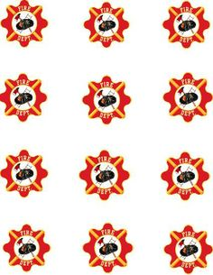 Firefighter party cupcake decorations.