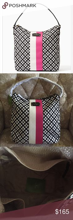 """💕Kate Spade Classic Mona💕 SIZE 12""""h x 12""""w x 5.5""""d total strap length: 18.9""""  MATERIAL cotton/polyester jacquard fabric with smooth leather trim capital kate jacquard lining 14-karat light gold plated hardware DETAILS shoulder bag with zip top closure interior zip and double slide pockets printed kate spade new york license plate imported. Love this shoulder bag very cute, light-weight , on-go, durable and material lining easy to clean.💕 Check my closet for more choices…"""