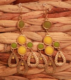 Olive and Yellow Chandelier Earrings from Southern Jewelry Auctions on Facebook