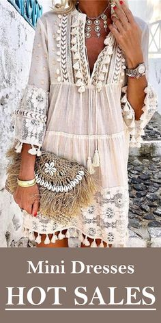 Tassel Hollow Out Mini Dresses Women Summer Autumn Sexy V-Neck Boho Dress 2019 Plus Size Bohemian Floral Printed Beach Vestidos - White XXXL Boho Fashion, Fashion Dresses, Daily Fashion, Fashion Night, Fashion Black, Fashion Spring, Fashion Online, Mode Hippie, Hippie Style
