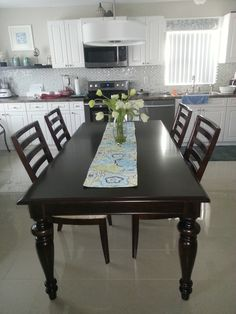Updated my kitchen with a new rectangle table. suits the space better. One Wall Kitchen, Rectangle Table, Kitchen Ideas, Home Goods, Decorating Ideas, Dining Table, Suits, Space, Furniture