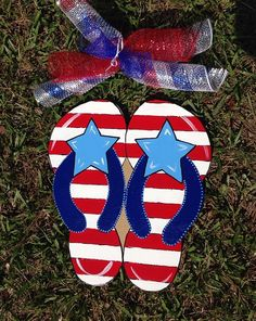 Summer door hanger,Flip flop door hanger, Patriotic door hanger,4th of july decor,summer door sign, party door decor, on Etsy, $30.00