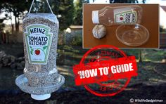 Make A Ketchup Bottle Bird Feeder Suitable For: Age Time Needed: 15 Minutes What You Need: Make A Bird Feeder, Bird Feeder Craft, Bird House Feeder, Hanging Bird Feeders, Homemade Bird Houses, Homemade Bird Feeders, Plastic Bottle Crafts, Recycle Plastic Bottles, Plastic Jugs