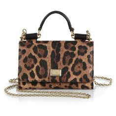 Dolce & Gabbana Leopard-Print Mini Chain Crossbody Bag (54,150 INR) ❤ liked on Polyvore featuring bags, handbags, shoulder bags, purses, bolsas, apparel & accessories, leopard, shoulder strap handbags, shoulder handbags and leather shoulder bag