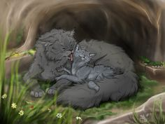 Yellowfang and Cinderpaw— the daughter yellowfang never had. Yellowfang wished that Fireheart/star could be her son instead of Brokenstar, that evil piece of crowfood (I mean Brokenstar, not Yellowfang!)
