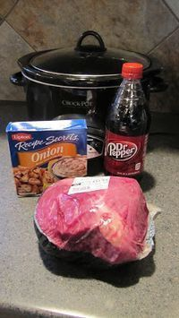 Delicious & Easy Pot Roast ~ Crock Pot Recipe Ingredients: 1 pot roast (we've used different types of roast, most recently a sirloin tip roast) 1 packet of Lipton Dry Onion Soup Mix 1 can of Dr. Pepper (or any soda you prefer to try) Directions: 1. Place roast in crock pot 2. Pour packet of onion soup mix and soda over roast 3. Cook on low for 8-9 hours or High for 2 hrs/Low for 6 hrs