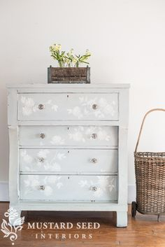 An idea for Sawyer's furniture piece - hand painted the Mora dresser - Miss Mustard Seed Milk Paint Furniture, Hand Painted Furniture, Repurposed Furniture, Furniture Projects, Furniture Makeover, Diy Furniture, Painting Furniture, Furniture Design, Chair Design