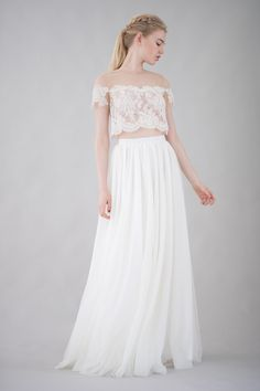 lace crop top and tulle skirt