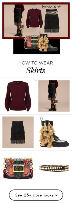 """Tiered Skirt!"" by lheijl on Polyvore featuring Burberry"