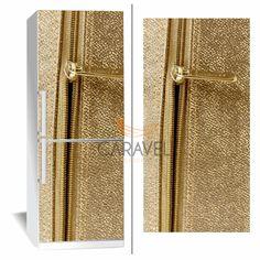 Αυτοκόλλητο Ψυγείου Χρυσό δέρμα με φερμουάρ Tie Clip, Curtains, Accessories, Decor, Blinds, Decoration, Draping, Decorating, Tie Pin