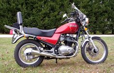 The 1983 Suzuki Tempter GR650-X Model in red with aftermarket   windscreen and backrest/rack. The GR650 proves to be both reliable and easy to work on. (Review by owner Dave Reiss)
