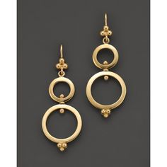 Temple St. Clair 18K Yellow Gold Double Ring Earrings found on Polyvore