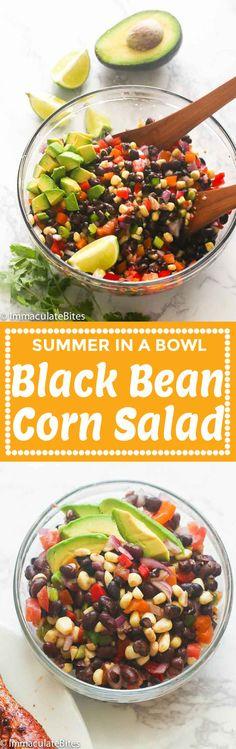 Black Bean Corn Salad #easyrecipe #healthy #avocado #veganrecipes #lowcarb #sidedish