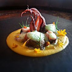 Spanish Baby Octopus, Creamy Yellow Carrot Ginger Purée, Anchovies, Dill, Parsley Lime Foam. I don't really want to eat this one but it's still beautiful.