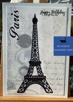 Grey Wallpaper, Paris Eiffel Tower, Wax Paper, Etsy Uk, Card Maker, Happy Birthday Cards, Greeting Cards Handmade, Picture Photo, Etsy Store