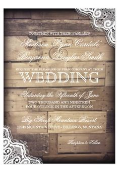 Rustic Wood and Lace Country Wedding Invitations #wedding #country