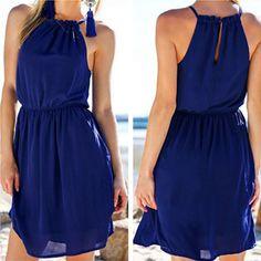 Pure Color O-neck Backless Sleeveless Short Dress
