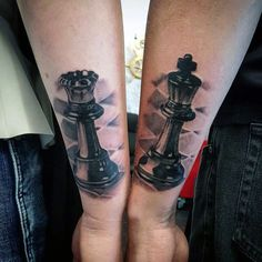 Outer Forearm Queen And King Chess Piece Mens Tattoos
