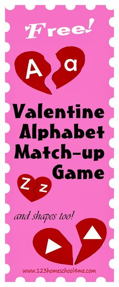 Kids will love practicing their Alphabet letters with this free printable great for Toddler, Preschool, and Kindergarten age kids Valentine Theme, Valentines Day Party, Valentine Day Crafts, Preschool Themes, Preschool Kindergarten, Toddler Preschool, Free Preschool, Preschool Worksheets, Literacy Activities