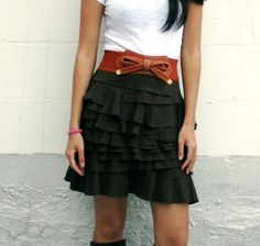 Modern Layered Cowgirl Western Country Skirt with Ruffles in Dark Brown and Black Cotton