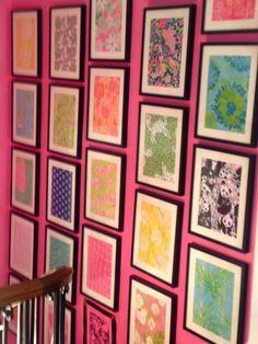 Ode to Lilly Pulitzer Prints Wall. It's a must for we collector's or worse those obsessed. Either way I love it.